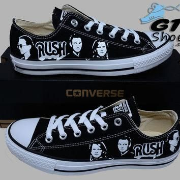 Hand Painted Converse Lo Sneakers. Rush Music Band. Alex, Neil, Geddy.Handpainted shoe