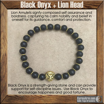 BOLDNESS: Black Onyx | Lion Head Yoga Mala Bead Bracelet