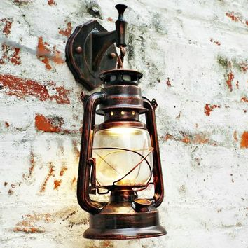 Retro Wall Vintage Glass European Kerosene Lamp For Bar, Coffee Shop,  Bathroom