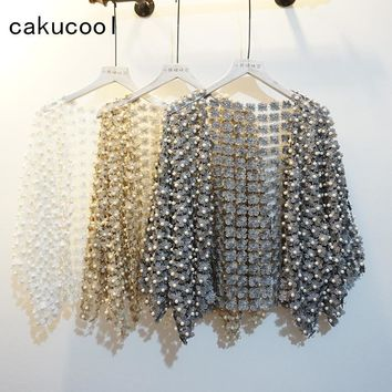 Trendy Cakucool Women Summer Sun-proof Coat Lace Hollow Out Floral Pearl Bead Open Stitch Cardigan Flare Sleeve Jacket Cappa Shawl Lady AT_94_13