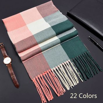 2018 korean autumn women tassel scarf plaid warm knitted cashmere scarves shawls luxury brand neck bandana pashmina lady wrap