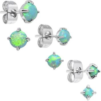 Brilliant Green Synthetic Opal Stud Earrings 3 Pair Set