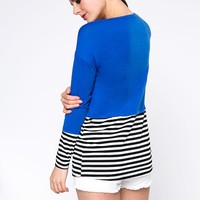 Casual Brief Style Striped Round Neck Long Sleeve T-Shirt