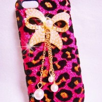 Luxury Pearl pink Leopard Crystal Diamond Rhinestones BOW bow-knot Flower Transparent Back Hard Case Cover Shell for Samsung Galaxy Mobile LG iphone HTC Cell Phone (iphone 5C, PINK)