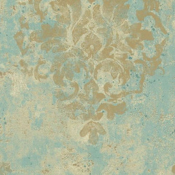 Wallpaper By The Yard - Antiqued Distressed Tan Damask on Robin Egg Blue, Aged, Worn, Old, Scroll, Faux Texture -  DA2366 fl