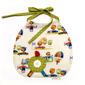 Baby Boy Sensory Bib, Bunnies and Bears, Newborn to Toddler Size, PoshEnfant Baby Gifts