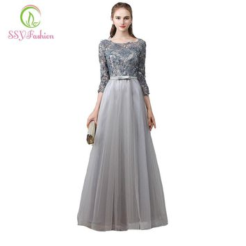 Evening Dress Banquet Scoop Neck Quarter Sleeves Flowers Beaded Lace Embroidery A-line Long Prom Formal Dresses