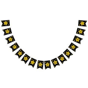 Movie Star Birthday Black And Gold Stars Bunting Flags
