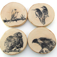 "Rustic Birch wood coasters ""Birds"" - set of 4"