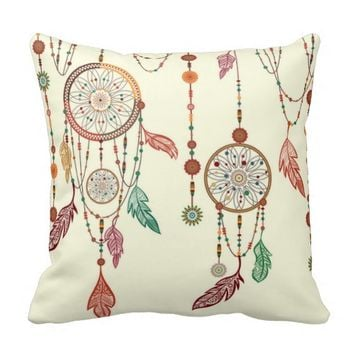 Native American Dreamcatcher Feathers Pattern Throw Pillow