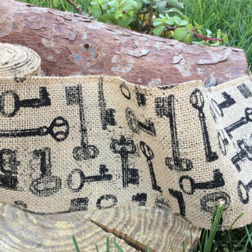 "Alice in Wonderland Party Decorations Decor Tea Party Mad Hatter Burlap Key Fabric Printed Ribbon 5"" wide x 20 feet ( 6.6 yards)"