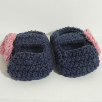 Baby Booties - Navy Blue Flower Power Mary Janes - 0-6 Months