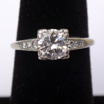 Diamond Engagement Ring Vintage Diamond Engagement Ring Diamond Platinum Engagement Ring Diamond Ring Platinum Diamond Ring 1/2 Carat