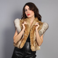 80s FOX & Rabbit FUR VEST / Fluffy Avant Garde Fall Layering Piece