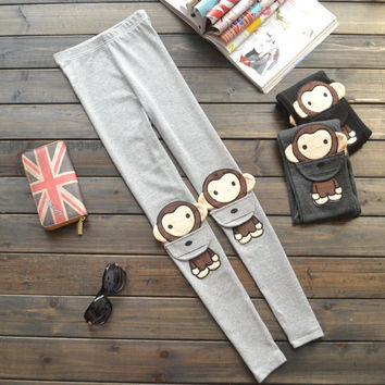 Cute Monkey Slim Casual Pants Winter Embroidery Cotton Cartoons Leggings [9475519748]