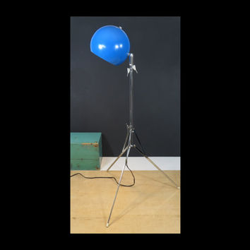 "Blue Eyeball Tripod Floor Lamp . Mid Century Modern Atomic . Circa 1960s . Adjustable 36"" to 59"" . Vintage"
