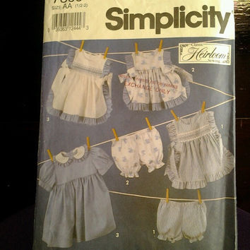 Simplicity 7809 sewing pattern, Girls toddlers dress, pinafore, and panties, 1992, cut
