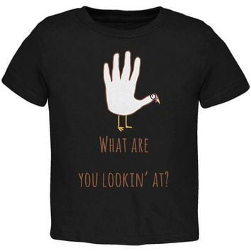 CREYCY8 Thanksgiving Turkey What Are You Looking At?  Black Toddler T-Shirt