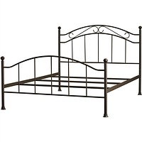Queen Size Scroll Design Metal Bed Frame with Headboard & Footboard in Brown Finish