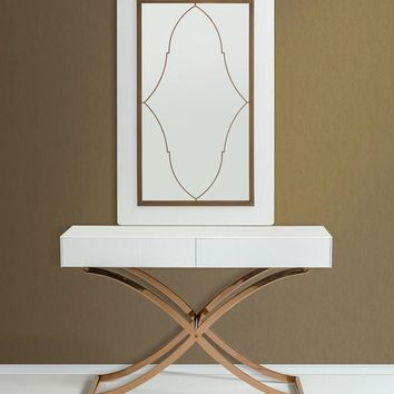 A&X Aversa Modern White & gold Crocodile Console Table & Mirror