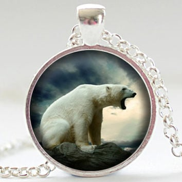 Polar Bear Necklace, Polar Bear Jewelry, White Polar Bear Pendant, Your Choice of Finish (1846)