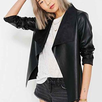 Members Only Wilma Drapey Vegan Leather Jacket- Black
