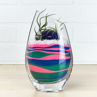 Hand-Cut Angled Glass Layered Sand Art Air Plant Terrarium