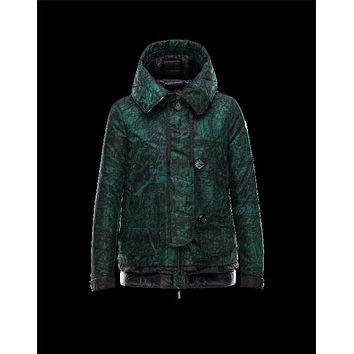 Moncler BAGES printed Gabardine Turtleneck Dark green Jackets Nylon/Polyamide Womens