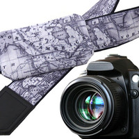Pocket camera strap. Grey map camera strap. North America map. Europe map. Personalized gifts for him. Gifts for dads. Get personal.
