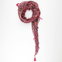 Ethnic Print Tassel Scarf Red One Size For Women 25163630001