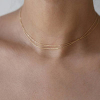 Super Dainty wrap Necklace // simple and delicate thin Chain Necklaces in gold filled or sterling silver // layered necklace
