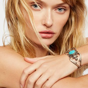 Free People Sterling Cast Turquoise Cuff