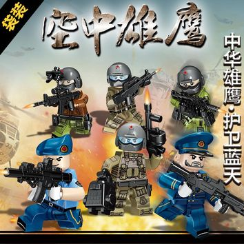 Kennie 6PCS/SET Special Force SWAT Police Army Building Block Military Swat Soldiers Figures DIY Block Brick Toy For Boys