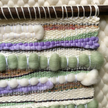 Handwoven Wall Art / Woven Wall Hanging Tapestry / Fiber Art / Pastel Mint and Lavender, Ivory, Neutrals, Wood