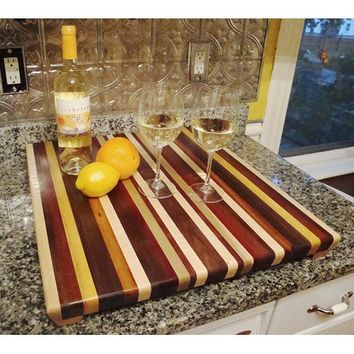 Handmade Extra Extra Large Wood Cutting Board -The Extraordinary - Flame Maple & Purpleheart