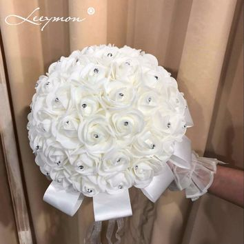 2018 Bridal Wedding Bouquet Artificial Wedding Decoration Flower Beads Crystal Silk Rose Wedding accessories Free Shipping