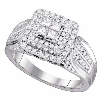 14kt White Gold Women's Princess Diamond Cluster Bridal Wedding Engagement Ring 3-4 Cttw - FREE Shipping (US/CAN)