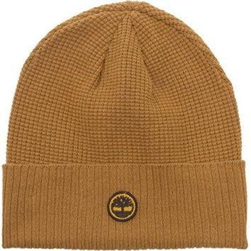 CHEN1ER Timberland Ribbed Knit Beanie - Mens Waffle Knit Cuff Watchcap (Wheat)