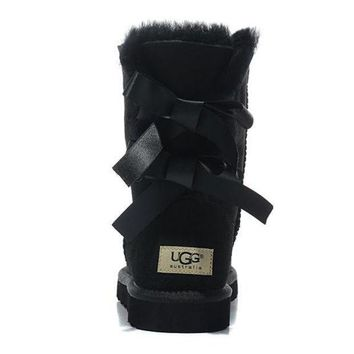 UGG Women Bow Fur Leather Boots In Tube Boots Shoes-3