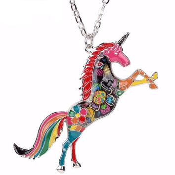 Metal Chain Enamel Statement Choker Horse Unicorn Necklace