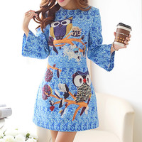 Light Blue Owl Print Dress