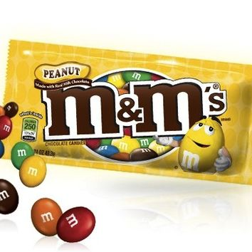 M & M's Peanut Chocolate Candies 1.6 oz Bags - Pack of 12