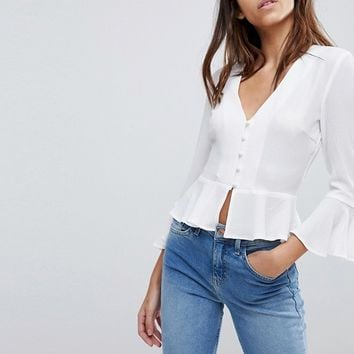 Missguided Button Detail Peplum Blouse at asos.com