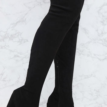 Black Faux Suede Thigh High Round Heeled Boots