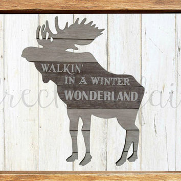 Wood Moose wall art, printable christmas photo