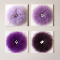 "Purple Decor Flower Wall Hangings Purple Home Decor 12 x12"" Canvas Wall Art Canvases 3D Flower Nursery Room Decor Purple Bouquet Set of 4"