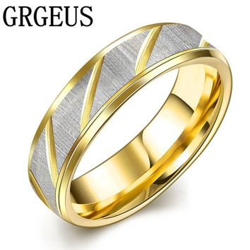 Simple Golden wedding ring and women stainless steel ring