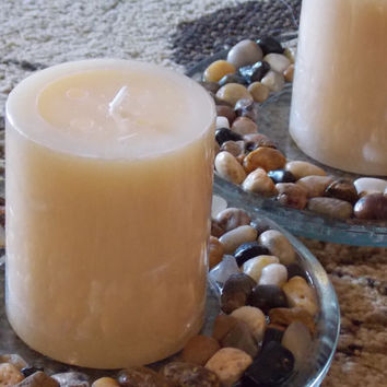 Candle Holder - Glass & River Rock Pebbles