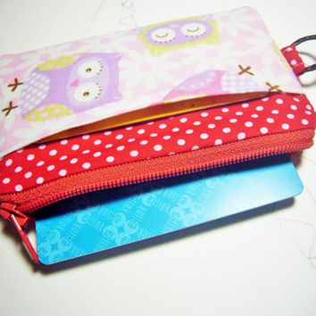 Owls id1330945 handmade fabric zip purse for credit card, coin, thumbdrive, keys, work lanyard tag, jogging purse