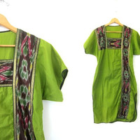 Long Green Tunic Dress Cotton Mini Caftan Dress Ethnic Indian Dress Bohemian Tunic Top Traditional Shirt Womens Medium